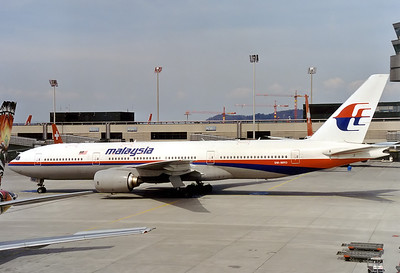 Malaysia Airlines Boeing 777-2H6/ER 	 Zurich - Kloten (ZRH / LSZH) Switzerland April, 2000  9M-MRD (cn 28411/84) This aircraft was tragically shot down above Eastern Ukraine whilst operating 'MH17' from AMS-KUL on 17 July 2014.