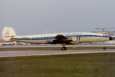 Aerochago Lockheed C-121C Super Constellation (L-1049F)  Miami - International (MIA / KMIA) USA - Florida, April 1989 Reg: HI-548CT Cn: 4202 Ready for take off RWY 09L, a sight and sound I'll never forget.