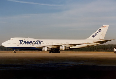 Tower Air Boeing 747-127  	Nuremberg (NUE / EDDN) Germany, December 1990 Reg: N601BN  Cn: 20207/100 The former 'Big Orange' of Braniff Int.