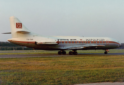 Tunisair Sud SE-210 Caravelle III 	Nuremberg (NUE / EDDN) Germany, August 3, 1976 Reg: TS-TAR  Cn: 178 Catching the last rays of sunshine on a beautiful summer evening.