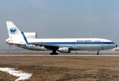 Worldways Canada Lockheed L-1011-385-1-14 TriStar 100 Toronto - Lester B. Pearson International (Malton) (YYZ / CYYZ) Canada - Ontario, March 1989 Reg: C-GIFE  Cn: 193L-1079