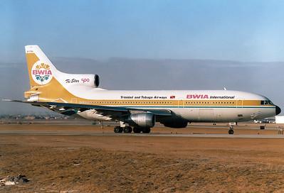 BWIA International - Trinidad and Tobago Airways Lockheed L-1011-385-3 TriStar 500  Toronto - Lester B. Pearson International (Malton) (YYZ / CYYZ) Canada - Ontario, March 1989 Reg: 9Y-THA  Cn: 193G-1222