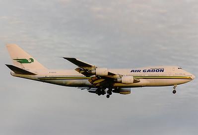 "Air Gabon Boeing 747-2Q2BM Toronto - Lester B. Pearson International (Malton) (YYZ / CYYZ) Canada - Ontario, June 1989 Reg: F-ODJG  Cn: 21468/324 Late evening arrival of ""President Leon Mba""."