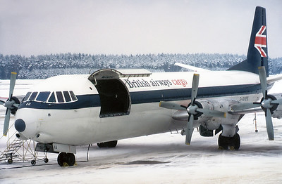 British Airways Cargo Vickers 953C Merchantman  Nuremberg (NUE / EDDN) Germany, January 17, 1979  G-APEG (cn 710) A rare visitor picking up some freight at my home airport in the good old days.