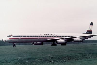 Capitol Intl. Airways McDonnell Douglas DC-8-63CF  Nuremberg (NUE / EDDN) Germany, October 6, 1976 Reg: N910CL  Cn: 46094/482 US troop charter flight.