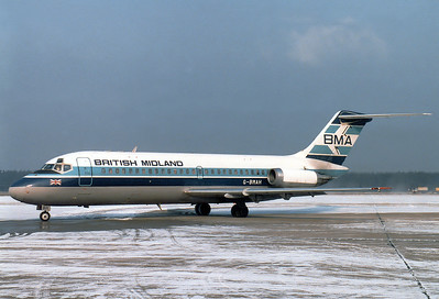 British Midland Airways - BMA Douglas DC-9-14  Nuremberg (NUE / EDDN) Germany, February 8, 1986 Reg: G-BMAH  Cn: 45712/6 Diversion MUC due to heavy snow, ski charter flight.