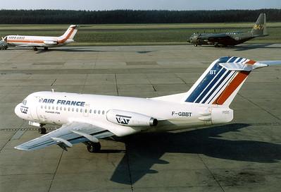 Air France (TAT - Touraine Air Transport) Fokker F-28-1000 Fellowship Nuremberg (NUE / EDDN) Germany, June 30, 1986 Reg: F-GBBT Cn: 11052