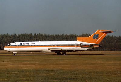 Hapag-Lloyd Boeing 727-2K5/Adv  Nuremberg (NUE / EDDN) Germany, October 26, 1985 Reg: D-AHLT  Cn: 21851/1551 Autumn sunlight end of October.