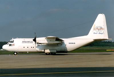 Lesea Global  Lockheed C-130A Hercules (L-182)  Nuremberg (NUE / EDDN) Germany, June 1, 1991 Reg: N226LS  Cn: 182-3052 Mercy Ship Zoe