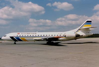 Sultan Air  in Transswede colours.  Sud SE-210 Caravelle 10B3 Nuremberg (NUE / EDDN) Germany, August 1990 Reg: TC-JUN  Cn: 259