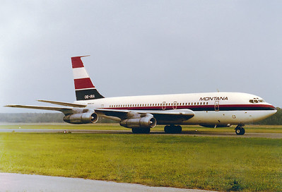 Montana  Boeing 707-138B   Nuremberg (NUE / EDDN)  Germany, August 14, 1977  OE-IRA (cn 18068/227) This ex Qantas 707-138B was operating a subcharter for Bavaria.