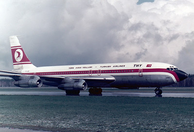 Turkish Airlines Boeing 707-121(B)  Nuremberg (NUE / EDDN) Germany, March 1976  TC-JBD (cn 17591/6) Actually this is line number 6 of all 707s built. Delivered originally to Pan Am as N712PA in 1958, it is pictured on taxiway 'Foxtrot' in front of a spring shower, having just arrived on the weekly service from Istanbul.
